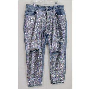 Top Shop sequin Moto Boyfriend Jeans size 28